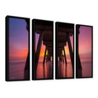 Cody York 4-Piece Tybee Island Pier in Georgia 24-Inch x 32-Inch Framed Canvas Wall Art in Purple