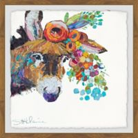 Marmont Hill Horse's Flower Crown 18-Inch Squared Framed Wall Art