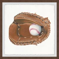 Marmont Hill Baseball Gloves 18-Inch Squared Framed Wall Art