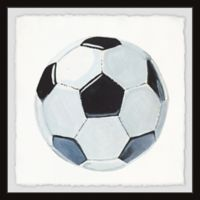Marmont Hill Soccer Ball 12-Inch Squared Framed Wall Art
