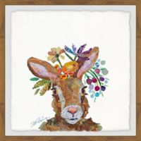Marmont Hill Bunny Flowers 18-Inch Squared Framed Wall Art