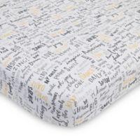 ED Ellen DeGeneres Woodland Word Friends Cotton Fitted Crib Sheet in Grey