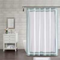 Wamsutta® Hotel Border 72-Inch Square Shower Curtain in Aqua
