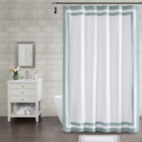 Wamsutta® Hotel Border 96-Inch x 72-Inch Shower Curtain in Aqua