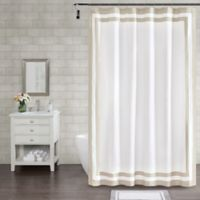 Wamsutta® Hotel Border 96-Inch x 72-Inch Shower Curtain in Taupe