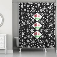 "Designs Direct ""Let it Snow"" Shower Curtain in Black"