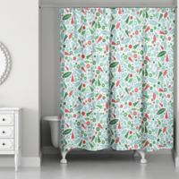 Designs Direct Modern Holiday Pattern Shower Curtain in Blue