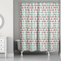 Designs Direct Modern Holiday Pattern Shower Curtain in Red