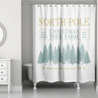 "Designs Direct ""North Pole Christmas Tree Farm"" Shower Curtain in Green"