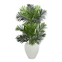 Nearly Natural 3.5-Foot Paradise Palm Artificial Tree in White Planter