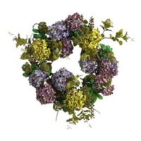 Nearly Natural 24-Inch Mixed Hydrangea Artificial Wreath