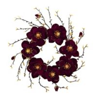 Nearly Natural 24-Inch Artificial Burgundy & Gold Magnolia Wreath