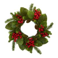 Nearly Natural 19-Inch Artificial Magnolia Leaf, Berry and Pine Wreath