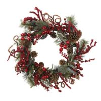 Nearly Natural 24-Inch Artificial Assorted Berry Wreath