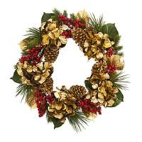 Nearly Natural 24-Inch Golden Hydrangea, Berries and Pine Wreath