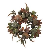 Nearly Natural 24-Inch Pumpkin and Gourd Wreath
