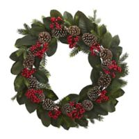 Nearly Natural 30-Inch Artificial Magnolia Leaf, Berry, and Pine Cone Wreath