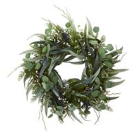Nearly Natural 24-Inch Eucalyptus and Mixed Greens Wreath