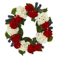 Nearly Natural 21-Inch Artificial Geranium and Blue Berry Wreath