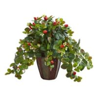 Nearly Natural 19-Inch Artificial Strawberry Plant in Decorative Planter