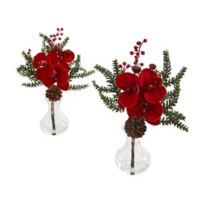 Nearly Natural 12-Inch Phalaenopsis Orchid, Berry and Pine Arrangement (Set of 2)