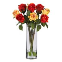Nearly Natural 16-Inch Assorted Roses Artificial Arrangement in Red/Yellow with Glass Vase