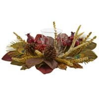 Nearly Natural 19-Inch Magnolia, Berry, Antler & Peacock Feather Artificial Arrangement