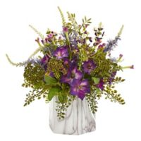 Nearly Natural 14-Inch Morning Glory Artificial Arrangement in Marble Vase