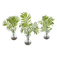 Nearly Natural 16-Inch Mini Acera Palm Artificial Plant in Glass Vase (Set of 3)
