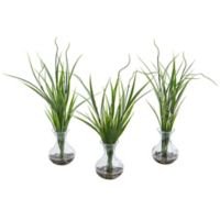 Nearly Natural 14-Inch Grass Artificial Plant in Glass Vase (Set of 3)