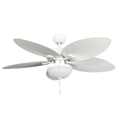52 Inch Wisteria Outdoor White Ceiling Fan With Light Kit