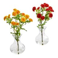 Nearly Natural 10-Inch Artificial Japanese Arrangement in Vase (Set of 2)