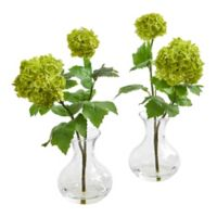 Nearly Natural 11-Inch Artificial Snowball Hydrangea Arrangements in Vase (Set of 2)
