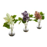 Nearly Natural 12-Inch Artificial Lilac Arrangement in Vase (Set of 3)
