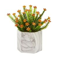 Nearly Natural 11-Inch Artificial Flowering Sedum Plant with Vase