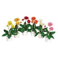 Nearly Natural Artificial Gerber Daises with Pots (Set of 6)