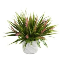 Nearly Natural 11-Inch Grass & Fern Plant in Marble-Finished Vase