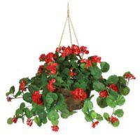 Nearly Natural Geranium Hanging Basket in Red