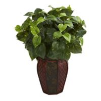 Nearly Natural 19-Inch Pothos Artificial Plant with Brown Planter