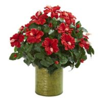 Nearly Natural Hibiscus Artificial Plant in Red with Green Planter