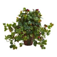 Nearly Natural 19-Inch Raspberry Artificial Plant in Green with Brown Planter