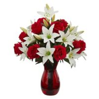 Nearly Natural 21-Inch Artificial Roses and Lillies with Vase