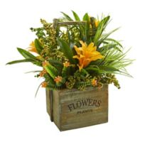 Nearly Natural 15-Inch Artificial Bromeliad & Mixed Greens Arrangement with Planter
