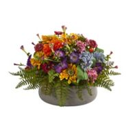 Nearly Natural 10-Inch Artificial Mixed Floral Arrangement with Planter
