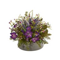 Nearly Natural 14-Inch Artificial Morning Glory Arrangement with Planter