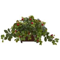 Nearly Natural 15-Inch Artificial Strawberry Plant in Decorative Planter