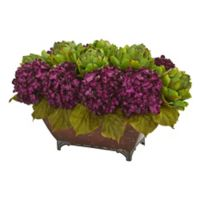 Nearly Natural 12-Inch Hydrangea and Artichoke Arrangement with Metal Planter