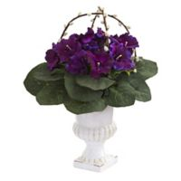 Nearly Natural 18-Inch Artificlal Gloxinia Plant with White Urn