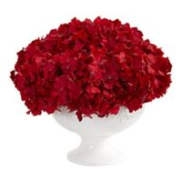 Nearly Natural 12-Inch Artificial Red Hydrangea in Pedestal Vase