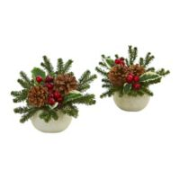 "Nearly Natural 7.5"" Artificial Christmas Floral Arrangement in White Vase (Set of 2)"